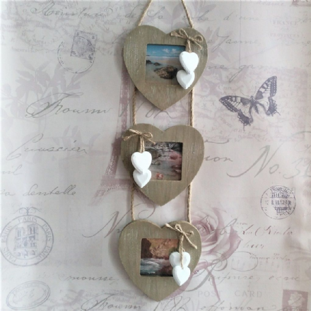 40% off Rustic White Wash Wood Triple Heart Photo Frame